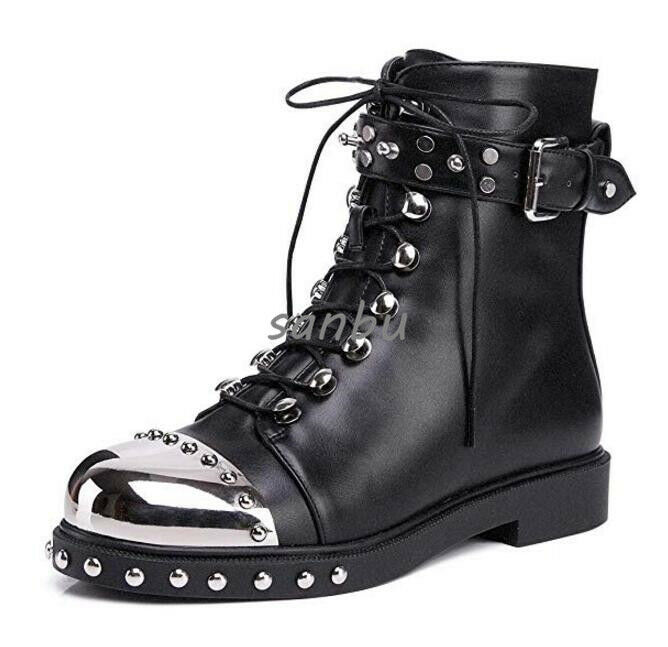 Womens Ankel Boots Lace Up Buckle Strap Side Side Side Zip Flat shoes Real Leather Rivets 744e9d