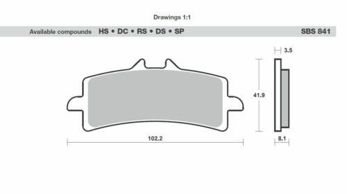 2x SBS 841 Dc Course Plaquette de Freins KTM RC8 1190 Aprilia RSV4,RSV4-R