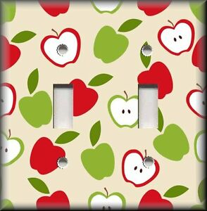 Details about Metal Light Switch Plate Cover Red Green Apples Home Decor  Kitchen Apples Decor