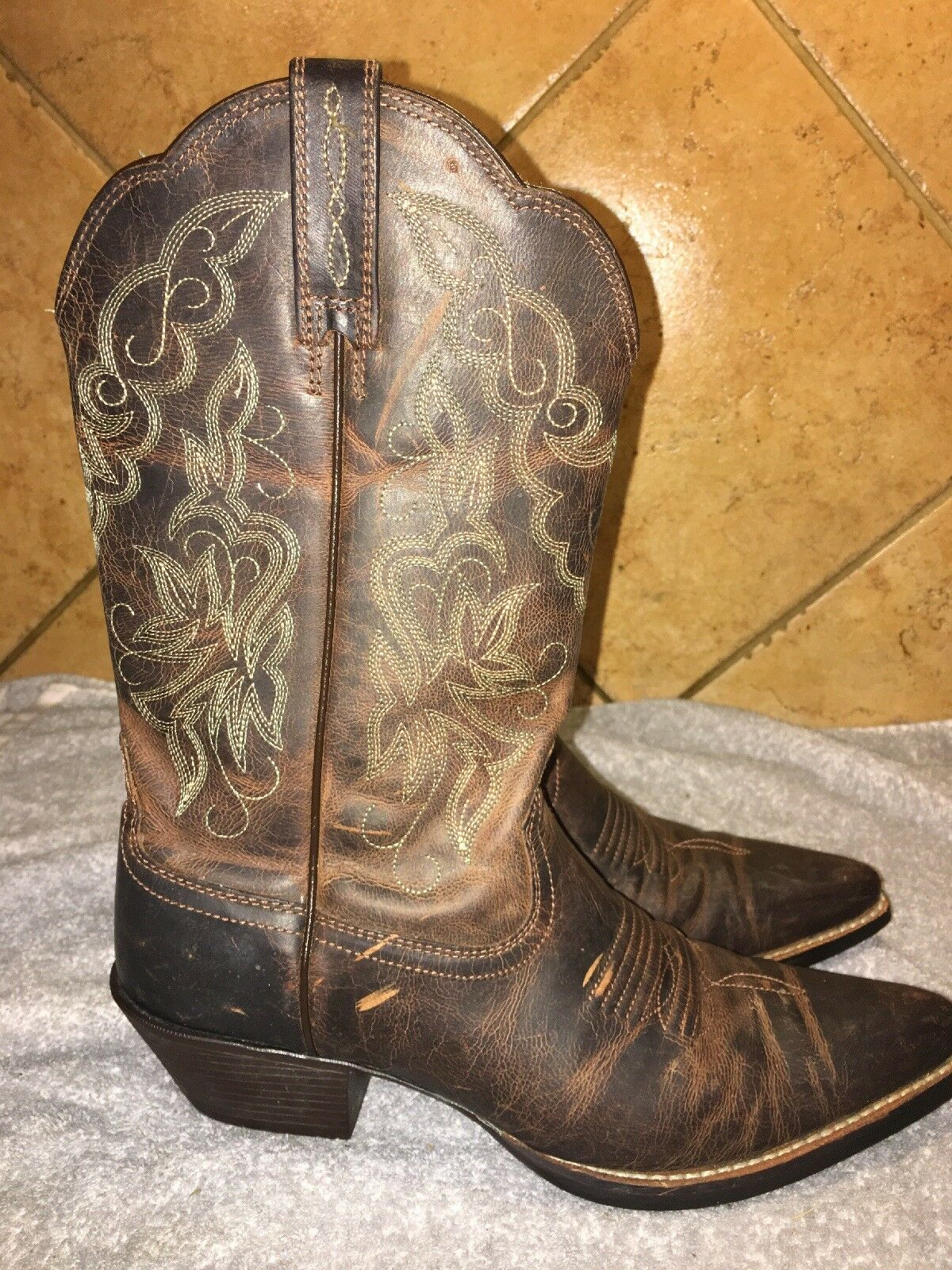 Ariat 10010968 Brown Leather Cowboy Western Boots Sz 6 B
