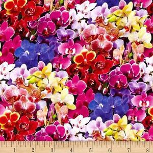 Elizabeth-039-s-Studio-Digital-Garden-Orchids-Multi-100-cotton-fabric-by-the-yard