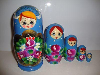 RUSSIAN HAND PAINTED NESTING DOLL BABUSHKA MATRYOSHKA (5 pieces)