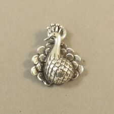 .925 Sterling Silver 3-D PEACOCK CHARM Pendant NEW Feather Bird 925 BI63