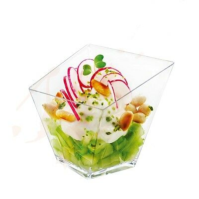 11 Small Plastic Diamond Dessert Cube . . . . .  mini party clear cup dish bowls