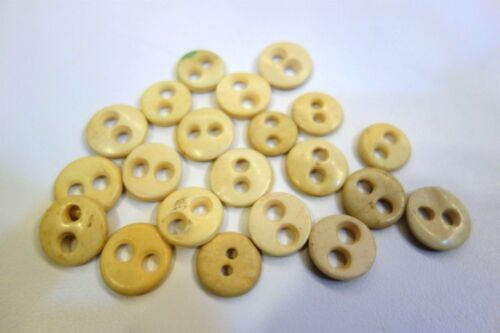 Sold in QTY of 6 Antique Hand Carved Bovine Bone Buttons c 1800s 2 Hole Eye