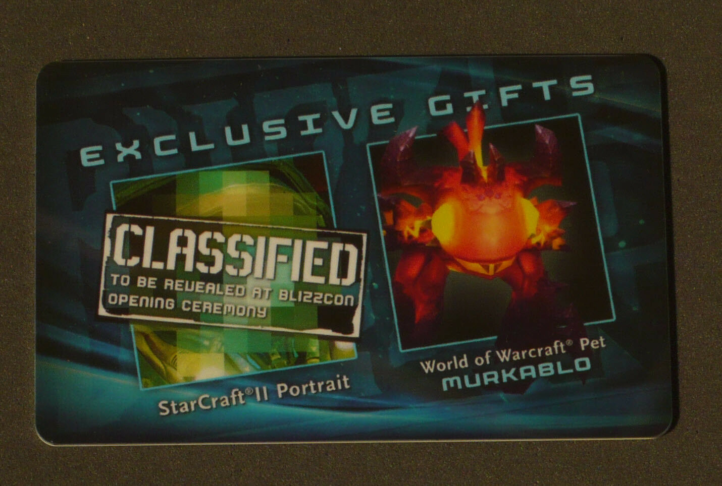 BlizzCon 2011 loot card - World of Warcraft Murkablo Pet - UNSCRATCHED   UNUSED