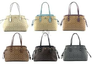 Coach-F57842-PVC-Signature-Drawstring-Leather-Carryall-Shoulder-Tote-Bag