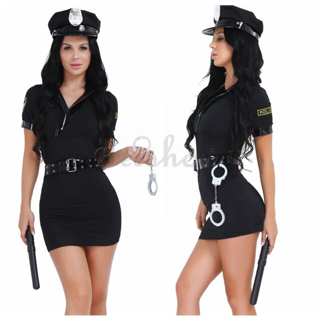 Halloween Officer Naughty Costume Police Woman Uniform Fancy Dress Outfit Night by Ebay Seller