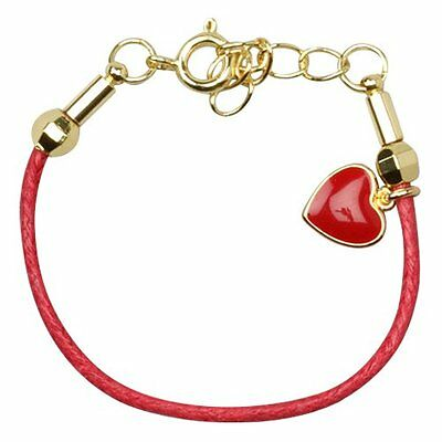 """Red Enamel Heart Gold Plated Red Cord Girls Kids Bracelet 5""""   1"""" Ext."""