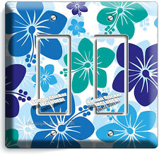 BLUE HAWAIIAN HIBISCUS FLOWERS DOUBLE GFI LIGHT SWITCH PLATE COVER BEDROOM DECOR