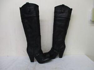 55a8ec2c54ae Sam Edelman Naharra Black Leather Knee High Heel Boots Womens Size ...