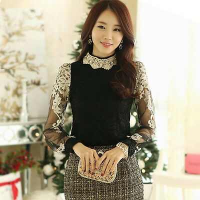 Women Lace Long Sleeve Floral Shirt Tops Pearl Casual Blouse smock T-shirt