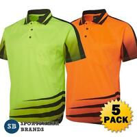 5 X Mens Hi Vis Rippa Sub Polo Shirt Workwear Size Xs-5xl Construction 6hvrs