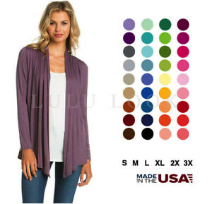 Women-Solid-Long-Sleeve-Cardigan-Open-Front-Shawl-Sweater-Wrap-Top-PLUS-USA-S-3X