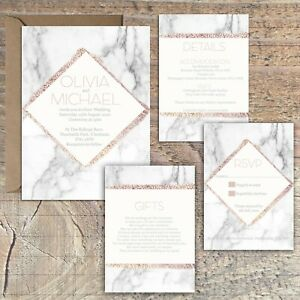 Personalised-ROSE-GOLD-amp-MARBLE-EFFECT-wedding-invitations-packs-of-10