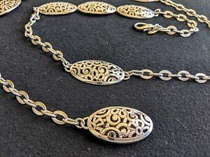 XL-Silver-Tone-Medallion-Belt-45-034-Long-Open-Metal-Work-Fit-42-034-Waist