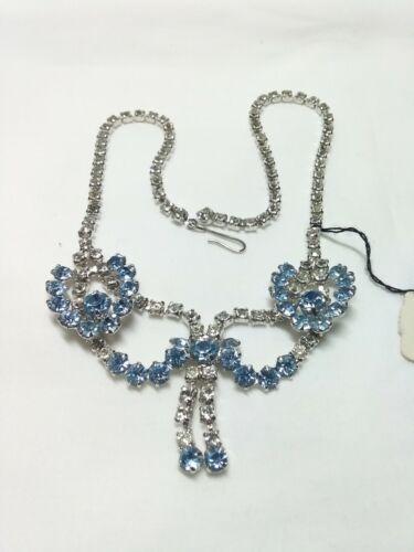 Vintage 1940's Crystal And Sky Blue Rhinestone Sil