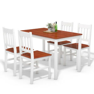 5-Piece-Dining-Table-Set-4-Chairs-Solid-Wood-Home-Kitchen-Breakfast-Furniture