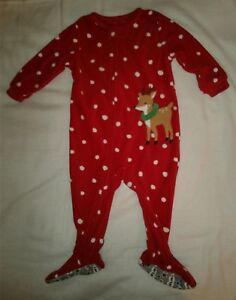 New Carter s Baby Girl Christmas Reindeer One Piece Footed Fleece ... d799231e0