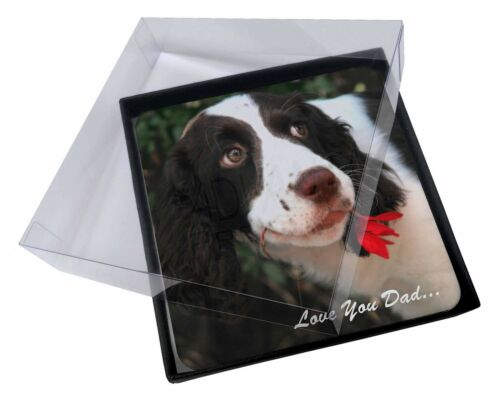 4x Springer Spaniel 'Love You Dad' Picture Table Coasters Set in Gift , DAD118C