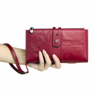 Women-039-s-Vintage-Genuine-Leather-Wallet-Wrist-Long-Money-Purse-Card-Photo-Holder