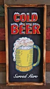 Details About Cold Beer Served Here Frosty Mug Rustic Sign Bar Garage Man Cave Pub Decor