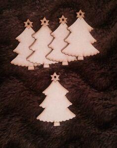 25x Arbres De Noël De Noël En Bois Craft Blanc Gift Tag 3 Mm Mdf Laser Cut Bois-afficher Le Titre D'origine