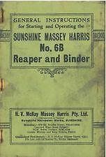 Details about SUNSHINE MASSEY HARRIS No 6B REAPER & BINDER OPERATORS MANUAL