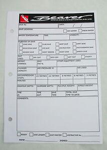 suba diving 50 log sheets inserts for binder folder dive kit