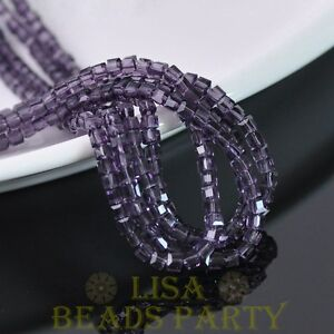 100pcs-4mm-Cube-Square-Faceted-Crystal-Glass-Loose-Spacer-Beads-Bluish-Violet