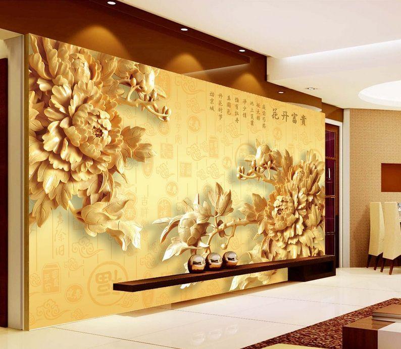 3D Legno fiore Parete Murale Foto Carta da parati immagine sfondo muro stampa