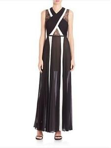 NEW-2016-AUTH-BCBG-MAXAZRIA-Caia-Pleated-Lace-Block-Georgette-Gown-398