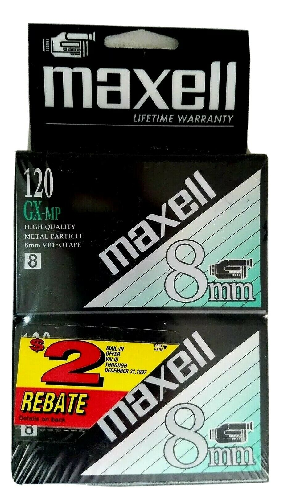 Maxell GX-MP Camcorder Recording Tapes 120 8 mm 2 Pack New Sealed Vintage
