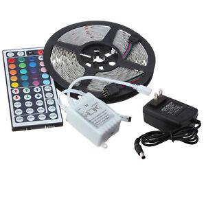 5M-3528-RGB-300-LED-SMD-Flexible-Luz-Tira-Lampara-Control-Remoto-12V-2A-fuente-de-alimentacion