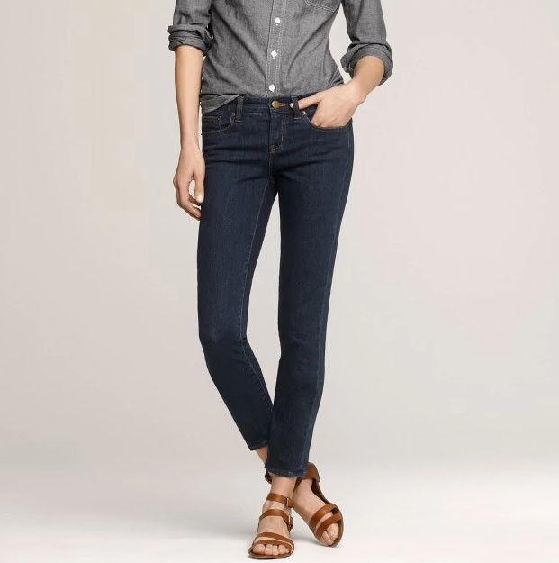 J Crew Toothpick Skinny Stretch Denim Ankle Jeans Dark Wash Size 25