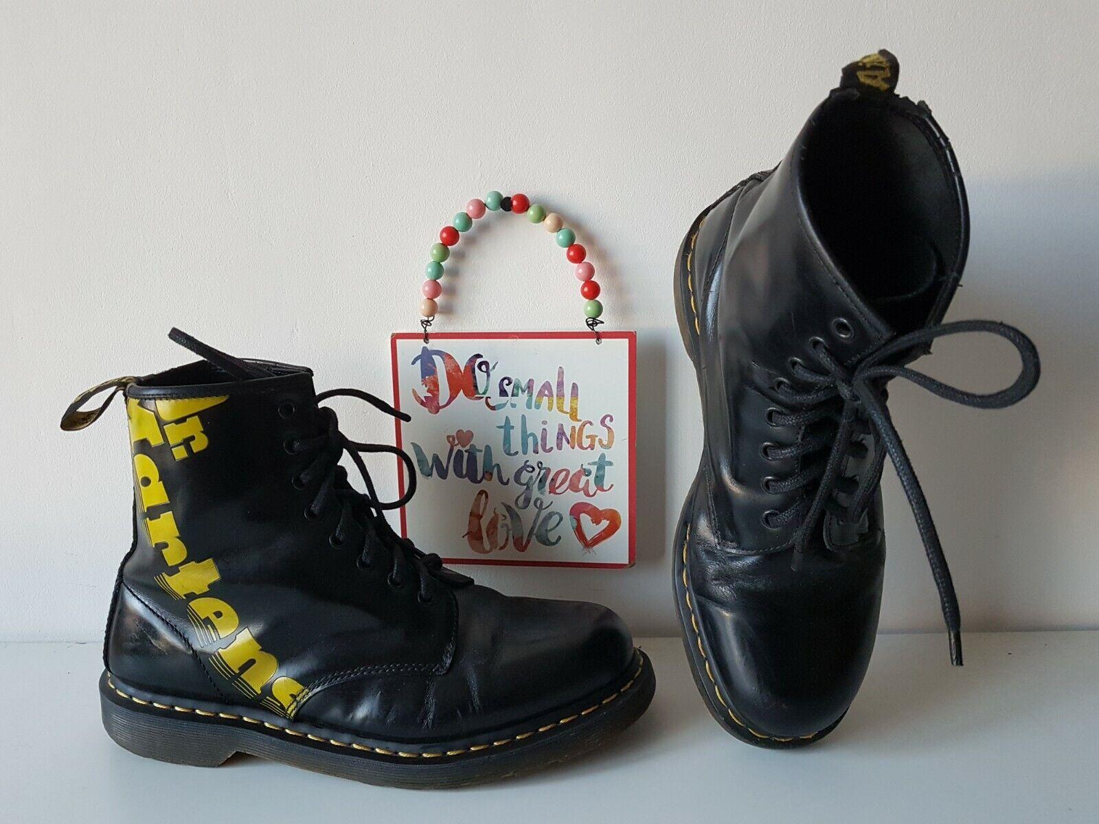 Dr Doc Martens 1460 8 eye brand logo yellow black boots UK 9.5 EU 44 US 10.5