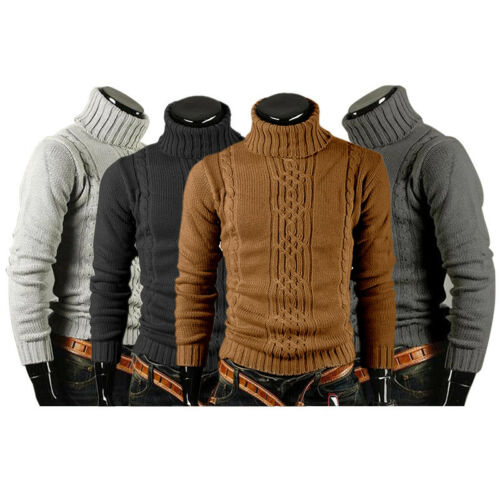 Black Grey Mens Knitted Slim Roll Turtle Neck Pullover Jumper Sweater Tee Tops