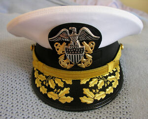 US NAVY COMMANDER ADMIRAL RANK WHITE HAT CAP AUTHENTIC NEW ALL SIZES ... b321042a8a8