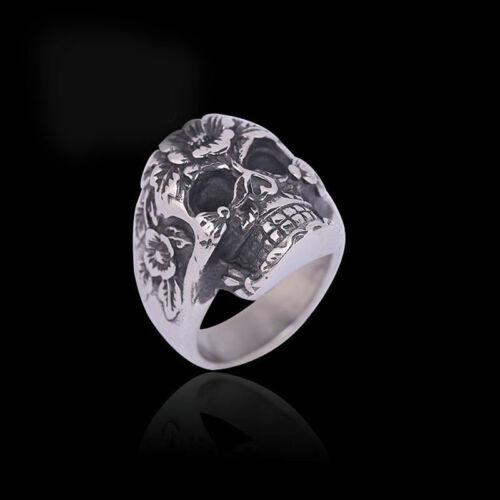 Retro Punk Men Stainless Steel Flower Skull Design Biker Finger Rings Size 10 11