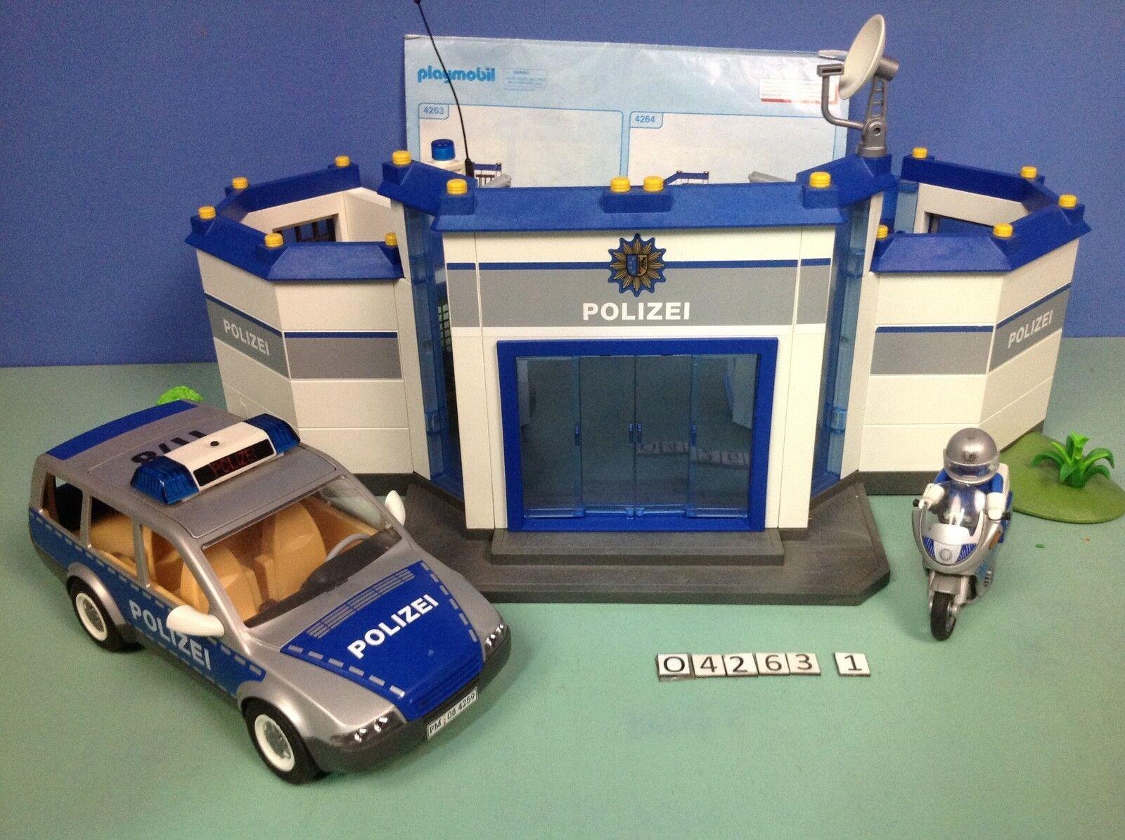 (O4263.1) playmobil Caserne polizei + moto + voiture voiture voiture ref 4263 6d9499