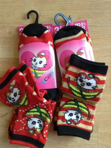 12 Pairs Of Baby Girls Cute Cat Ankle Socks Size  0-2.5 Red Stripes