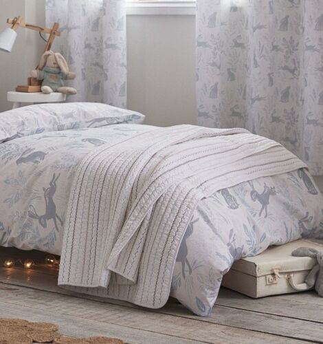 Fitted Sheets Childrens HARE Blue Cotton Duvet Cover Set Cushion or Throw