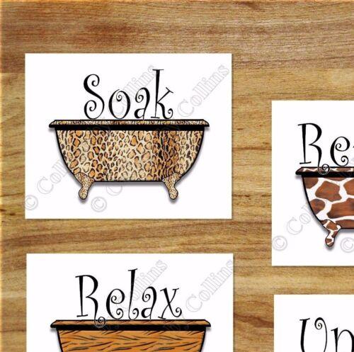 Bathroom Wall Art Picture Prints Bathtub Giraffe Tiger Zebra Leopard Soak Relax
