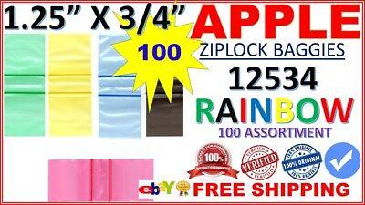 """12534 100 MINI ZIPLOCK BAGS COLORS BAGGIES 1.25/""""X0.75/""""  9 COLORS 2.25 MIL"""
