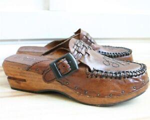 686cceb8c2c VTG 70s rust leather wood heel platform clogs shoes woven tie slip ...