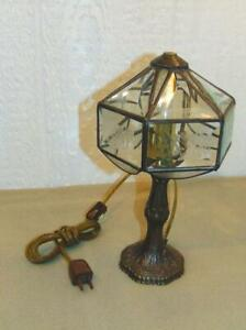 Lamp-Metal-Glass-small-western-desk-bedside-Unusual-Nouveau-Deco-Design-Art-CL