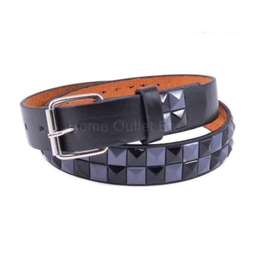 Kids 2-Row Checkered Pyramid Studded Leather Belt Tone Snap Unisex Boys Girls