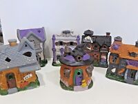 Halloween Spooky Town Village Porcelain Buildings, Buy Any Or Set Of 6,