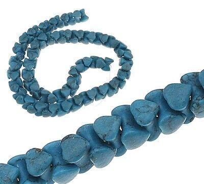 30 Türkis Edelstein Perlen Blau Naturstein Knochen Herz 10mm für Schmuck G979