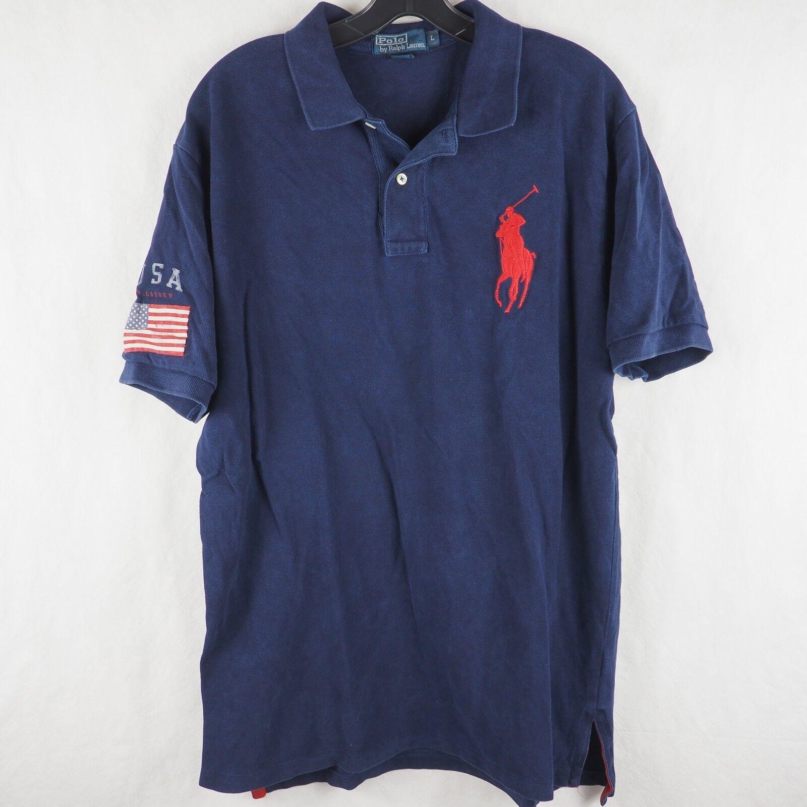 b431b628f Polo Ralph Lauren Men s Polo Shirt Big Logo USA Flag Patch Rugby Cotton  bluee L
